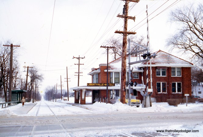 The North Shore Line's Libertyville station on the Mundelein branch in January 1963. (Wien-Criss Archive)