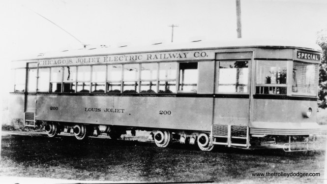 "Chicago & Joliet Electric car 200. This car, the ""Louis Joliet,"" was built by C&JE in the 1920s."