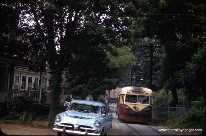 Red Arrow Brilliner 5 on the Ardmore line in July 1959. This narrow street may be why this line was somewhat rerouted after being converted to bus at the end of 1966.