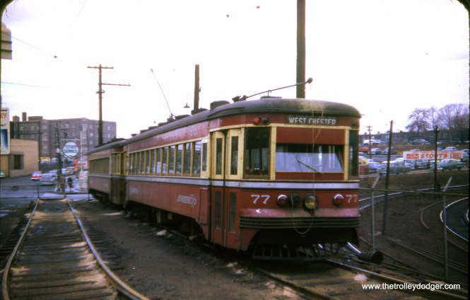 Red Arrow car 77, signed for the West Chester line, is at 69th Street Terminal in January 1954.