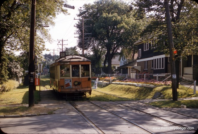 "Milwaukee and Suburban Transport car 995 is on Route 10, the last Milwaukee streetcar line in the classic era, in august 1957. The 995 was one of the last two cars operated (along with 975) there on March 2, 1958. Streetcar service returned to Milwaukee on November 2, 2018, when a 2.1 mile route, known as ""The Hop,"" opened."