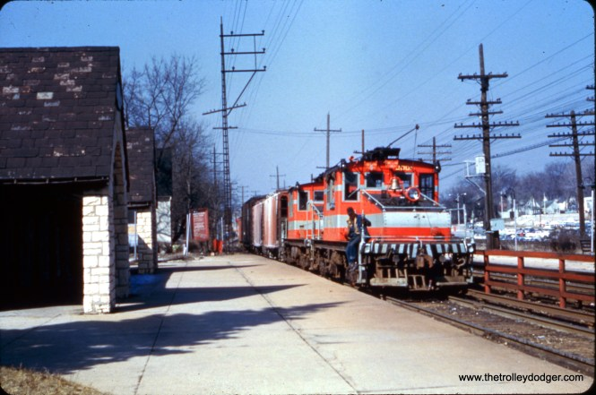 CA&E freight locos 2001 and 2002 in Glen Ellyn in March 1959.