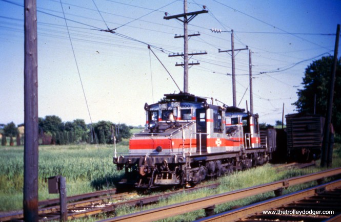 CA&E freight locos 2001 and 2002 at an unknown location in the summer of 1957.