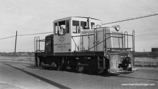 Aurora, Elgin & Fox River Electric diesel switcher #5, which continued freight operations after the remaining remnant of the line was de-electrified. A section of this line is now the trackage of the Fox River Trolley Museum in South Elgin, IL.