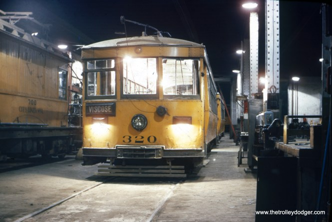 This is another remarkable photograph, showing Monongahela West Penn car 320 at night in June 1946. Such night shots were very difficult to achieve back then, due to the slow film speed of the time (this is Kodachrome 10, as in ASA/ISO 10). About the only way to take such a picture would have been with a very long exposure, with the camera resting on a tripod. (Dr. H. Blackbunn Photo)