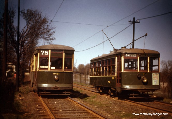 This photo of a pair of Philadelphia streetcars has to be from the 1940s, since Birney car #1 is present, along with 8471. The occasion was a fantrip. From the original red border Kodachrome. (Charles R. Houser, Sr. Photo)
