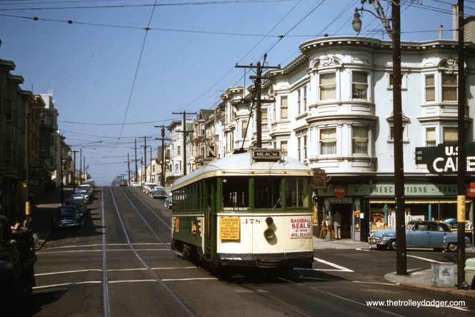 "SF Muni 178 is heading to the beach on Carl Street (N Line) in 1957. Don's Rail Photos: ""178, K Type, was built by Bethlehem Shipbuilding Co in 1923."" From wrm.org: ""The Bay Area Electric Railway Association purchased the 178 from the Muni in February of 1959, and moved it to Marysville, California, for storage on a Sacramento Northern spur for occasional operation on the electrified trackage in the Marysville-Yuba City area. It was moved to Rio Vista Junction in August, 1964 to join the rest of the BAERA collection. 178 returned to San Francisco in 1982 to be part of the Trolley Festival on Market Street while the City rebuilt it's cable cars lines. In 1983 the 178 returned to the Western Railway Museum and still operates today."" (Clark Frazier Photo)"