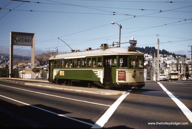 SF Muni 156 is an inbound J Line car at Market and Duboce in 1957. (Clark Frazier Photo)