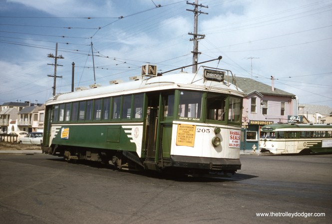 SF Muni 205 and 1014 at the end of the N Line in 1957. (Clark Frazier Photo)