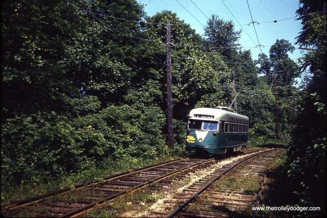 DC Transit 1555 from Cabin John in Brookmont on June 7, 1959. (Clark Frazier Photo)