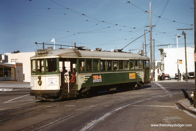 SF Muni 139 turns left from Geary onto 33rd Avenue in 1956. (Clark Frazier Photo)