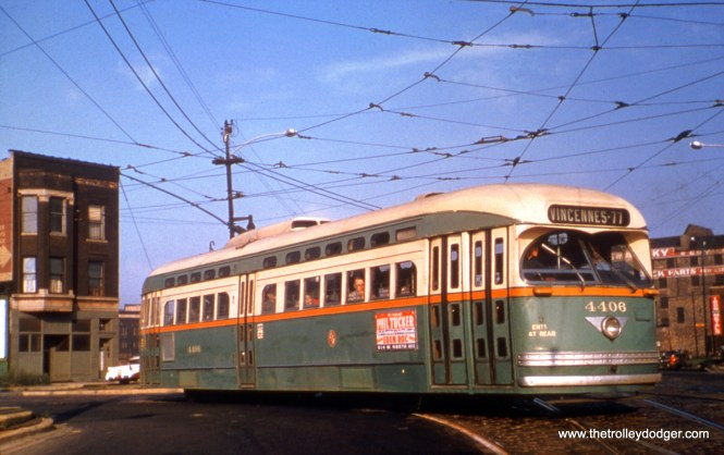 CTA PCC 4406, a product of the St. Louis Car Company, at Clark and Archer in April 1954. (William Shapotkin Collection)