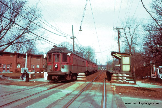 On March 25, 1962, a Central Electric Railfans' Association fantrip used North Shore Line cars 771-415-753-251 on the Evanston branch, where NSL cars had last run in 1955 (when the Shore Line Route was abandoned). Here, the train is at Isabella. This lightly used station closed in 1973 and was removed soon after. (William C. Hoffman Photo)