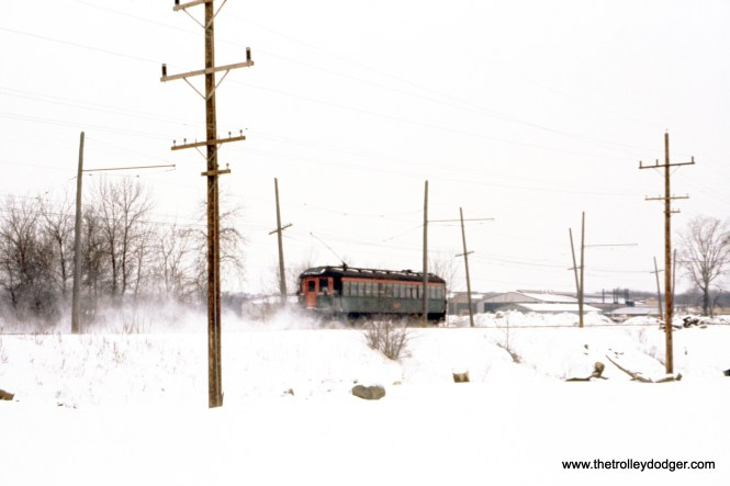 This may not be the sharpest picture, but it is an original Ektachrome slide shot by the late George Krambles. It shows North Shore Line 181 approaching Libertyville along the Mundelein branch on February 11, 1962.