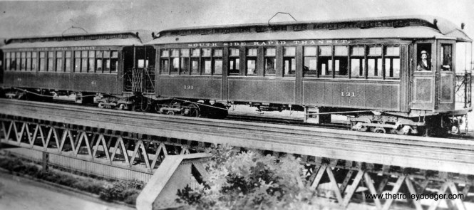 This old photo shows South Side Rapid Transit car 131 at 63rd Street in 1899. Note the wires on the tops of the cars, which were used for current collection via overhead wire in yard areas that did not yet have third rail installed. (George Trapp Collection)