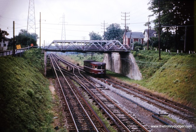 A southbound Bullet car at Bryn Mawr station in August 1961, on the Norristown line. (G. H. Landau Photo)