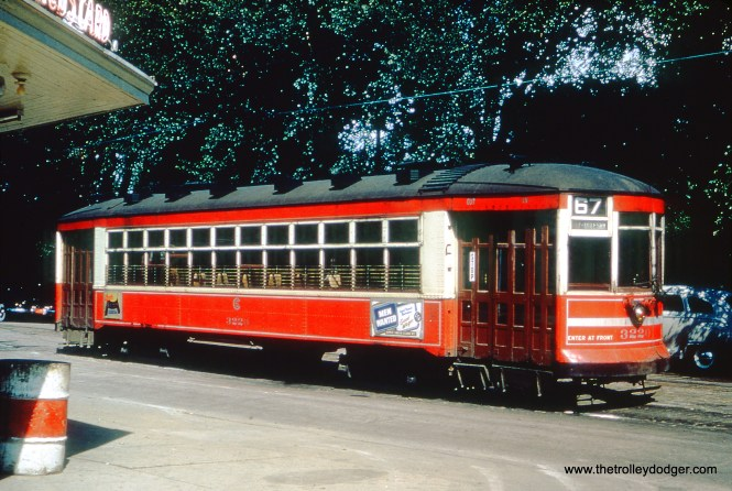 CTA one-man streetcar 3220 is at 67th and South Shore Drive in June 1952, running on Route 67. (William Shapotkin Collection)