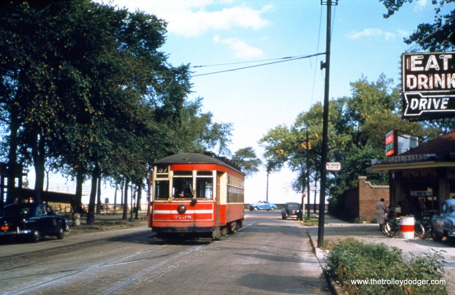 CTA 3238 at 67th and Lake Shore Drive (also known as South Shore Drive here) in May 1950. Note the same ice cream stand as in shapotkin116. (William Shapotkin Collection)