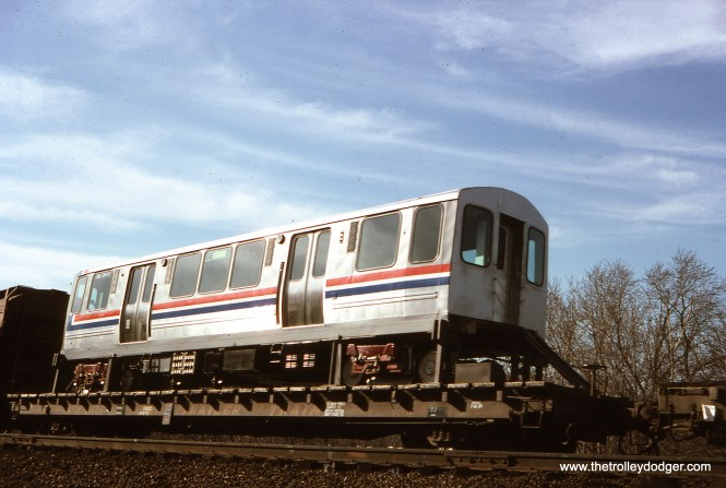 Brand new CTA 2414 is at Rockville (MD?) on March 19, 1977. It's part of the 2400-series, built by Boeing-Vertol. (R. Anastasio Photo, William Shapotkin Collection)