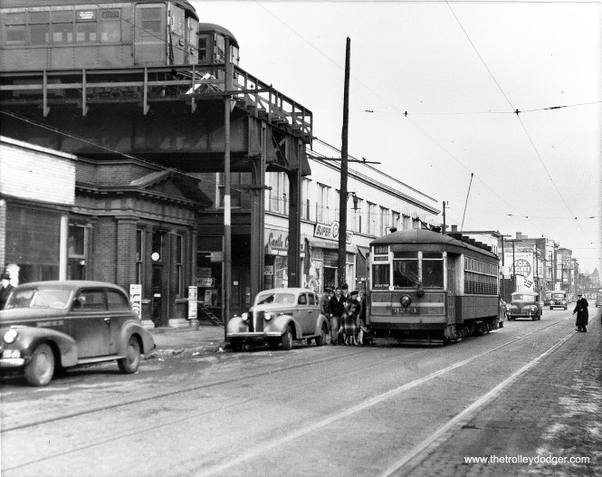 """The Normal Park """"L"""" was the shortest branch on the rapid transit system. Here we see the end of the line at 69th Street, looking east in 1949. The terminal here was designed for extension, but this did not come to pass. This branch closed in 1954. The sign on the train indicates it is a Ravenswood Express. (Chicago Transit Authority Historical Collection)"""