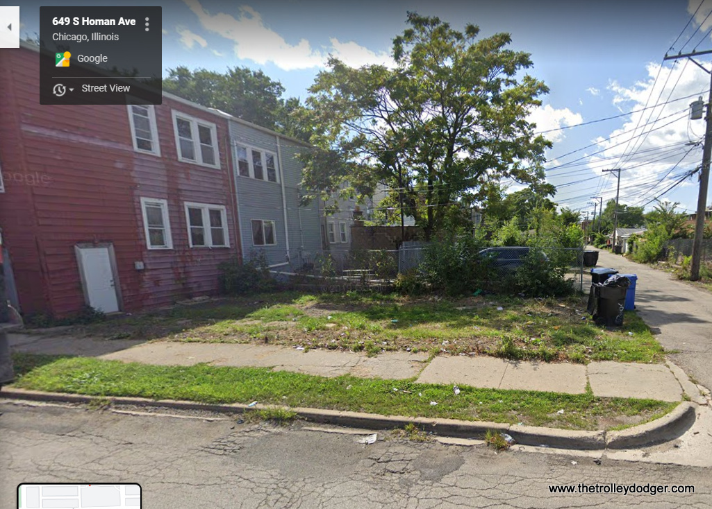 """649 S. Homan (3400 W.), looking west, showing the area south of the alley, once occupied by the Garfield Park """"L""""."""