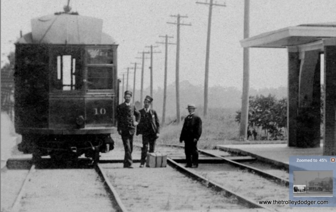 A close-up of the previous image, showing Chicago & Milwaukee Electric car 10. It was built by Pullman in 1899.