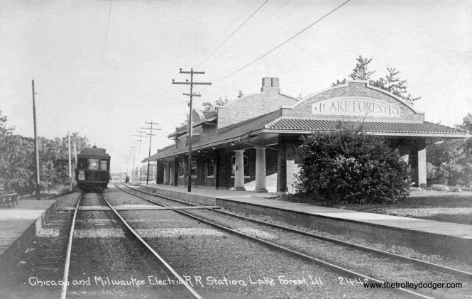 The Chicago & Milwaukee Electric station in Lake Forest. It was torn down around 1970, 15 years after the last North Shore Line trains ran here on the Shore Line Route.