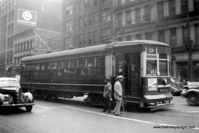"""CSL 5769 on Route 5 - Cottage Grove-South Chicago circa 1940. According to Don's Rail Photos, Nearside 5769 """"was built by Brill Car Co in 1912, (order) #18322, It was retired on November 8, 1948."""""""