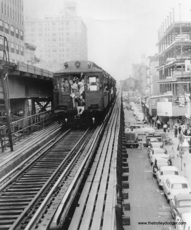 What was billed as Manhattan's last elevated train heads north on the Third Avenue El on May 12, 1955.