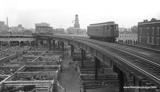"""We are looking east from the north platform at the Exchange Avenue station on the Stock Yards """"L"""". The once bustling Union Stock Yards gradually faded away as the meatpacking industry decentralized, and closed for good in 1971, 14 years after this branch of the """"L"""" was abandoned."""