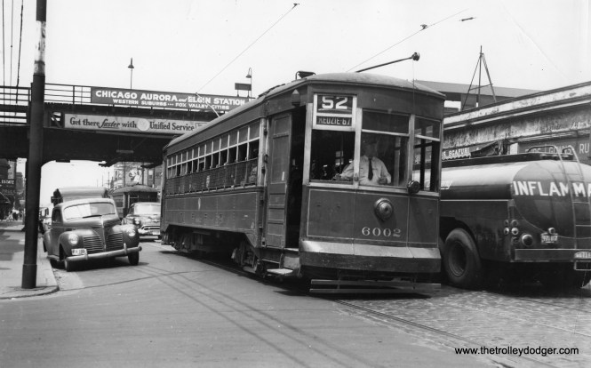 """CTA 6002 is southbound on Kedzie on June 22, 1950, having just passed the Garfield Park """"L"""". Service at this station continued until June, 1958, since it was not in the path of the Congress Expressway."""