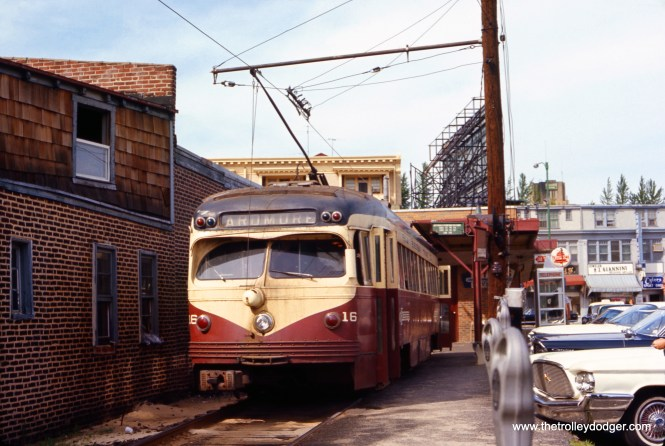 Philadelphia Suburban Transportation Company (aka Red Arrow) car 16 at the end of the Ardmore line on June 11, 1966, six months before trolleys were replaced by buses. (Allan H. Roberts Photo)