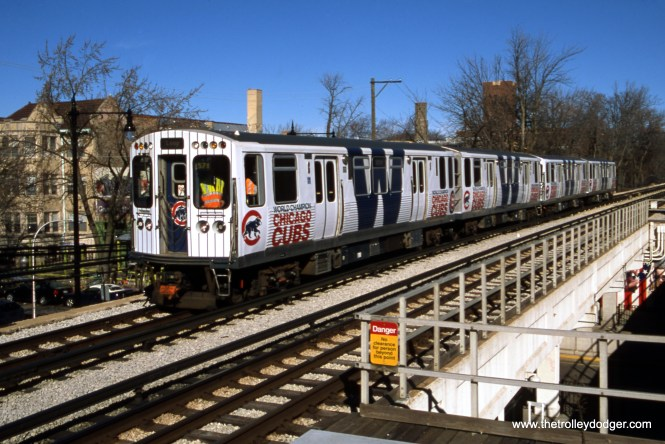 On February 19, 2017, thanks to a substantial donation from the late Jeffrey L. Wien, the Central Electric Railfans' Association held a fantrip on the CTA using a four-car train wrapped to celebrate the Chicago Cubs' World Series victory the previous fall. The lead car was 5695. (Bruce C. Nelson Photo)