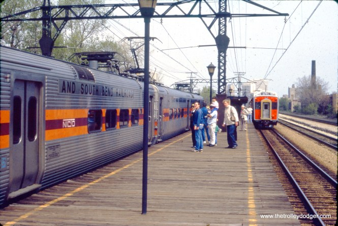 This was taken on a Central Electric Railfans' Association fantrip on the Metra Electric around May 1990. The South Shore Line also runs on these tracks somewhere on Chicago's south side.