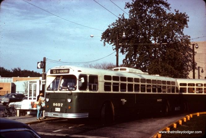"CTA trolley bus 9657 on Route 53 - Pulaski. Daniel Joseph: ""Location is Pulaski/Peterson Terminal."""