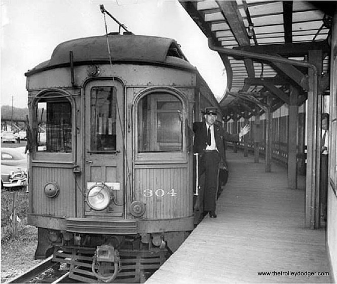 There is some question whether this photo does or does not actually show the last CA&E passenger train leaving DesPlaines Avenue without passengers on July 3, 1957, shortly after the interurban was given permission to abandon service by the courts. Some people think the photo was actually taken earlier.