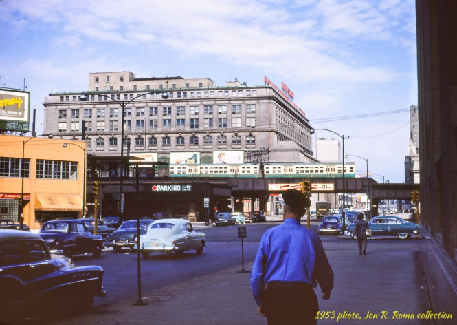This 1953 view looks to the northwest and shows the old Canal Street station on the Metropolitan
