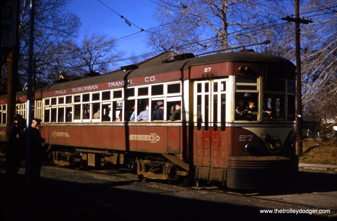 Red Arrow car 27, from a late 1950s red border Kodachrome slide. It was built by Brill in 1918. Sister car 25 was retired in 1964.