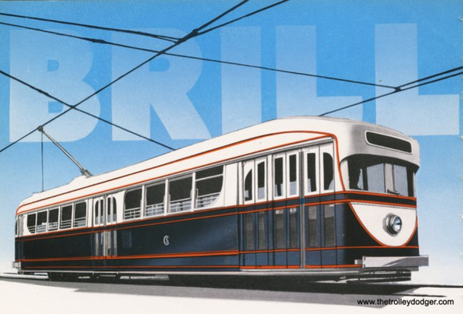 In this Brill trade ad, which appeared in a 1934 issue of Transit Journal, 7001 looks quite a lot like the PCCs Chicago got in 1936– from the St. Louis Car Company. But it does not appear to have been painted in these colors in 1934. Interestingly, it was later repainted to look a lot more like this.