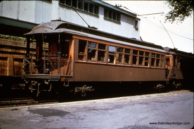 """CTA 3146 at Marion Street in Oak Park, running on the (then) ground-level portion of the Lake Street """"L"""". Don's Rail Photos: """"3146 was built by St. Louis Car in 1901 as LSERR 146. It was renumbered 3146 in 1913 and became CRT 3146 in 1923."""""""