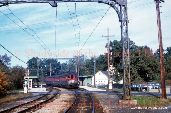 A three-car train in Lake Bluff by William D. Volkmer, 10/8/60.