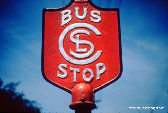 """Oddly enough, the Chicago Transit Authority used a CSL bus sign when it extended service to Skokie via Route 97 in 1948. This was CTA's first suburban bus route, and replaced the Niles Center branch of the """"L"""". This picture was taken on June 4, 1950. (William C. Hoffman Photo, William Shapotkin Collection)"""
