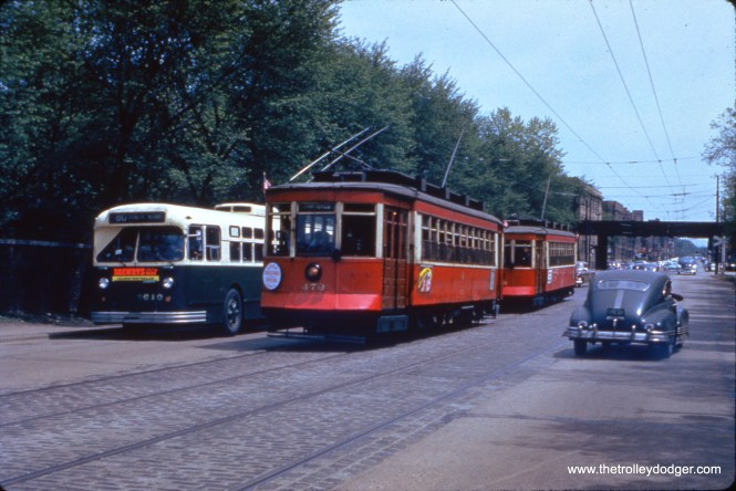 On May 16, 1954, red Pullmans 473 and 479 were used on a fantrip, two weeks before red cars were retired from service and replaced with buses on several routes. Streetcars were able to use trackage here on Irving Park Road in emergencies, since Route 80 had already been converted to use trolley buses.(William C. Hoffman Photo, William Shapotkin Collection)