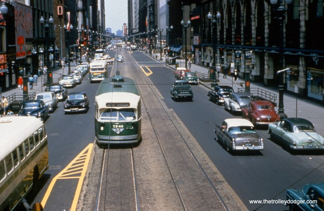 CTA PCC 7240 is on State Street at Van Buren, heading south on Route 36. (William C. Hoffman Photo, William Shapotkin Collection)