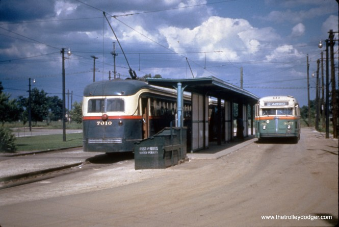 The off-street loop at 63rd Place and Narragansett on July 1, 1951, used by Route 63 streetcars and the bus that went west of there to Argo-Summit. (William C. Hoffman Photo, William Shapotkin Collection)