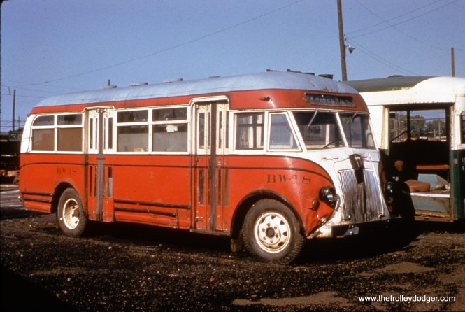 Retired CSL bus BW-18 and trolley bus 9186, on the scrap line at South Shops on June 15, 1958. (William C. Hoffman Photo, William Shapotkin Collection)