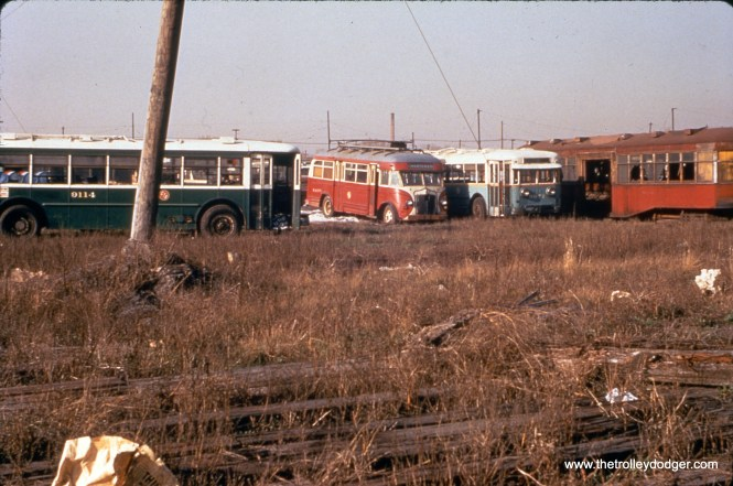 On April 10, 1955, we see various vehicles awaiting scrap at South Shops, including a streetcar trailer in the 8000-series, trolley buses 9114, 9071, and sleet cutter bus BW-108. (William C. Hoffman Photo, William Shapotkin Collection)