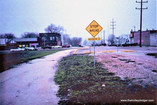 The site (at right) of the former North Shore Line station in Waukegan in 1992.