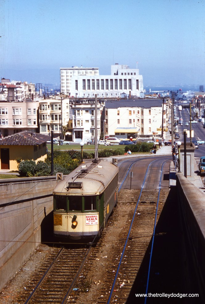 SF Muni 170 on the N Line, entering the Sunset Tunnel in 1957. (Clark Frazier Photo)
