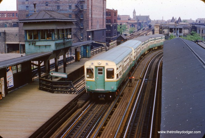 """Two """"new"""" and two """"old"""" 6000s enter the CTA station at 40th and Indiana on June 6, 1954. The Kenwood shuttle continued to operate for another three years after this. We are facing east. (William C. Hoffman Photo)"""